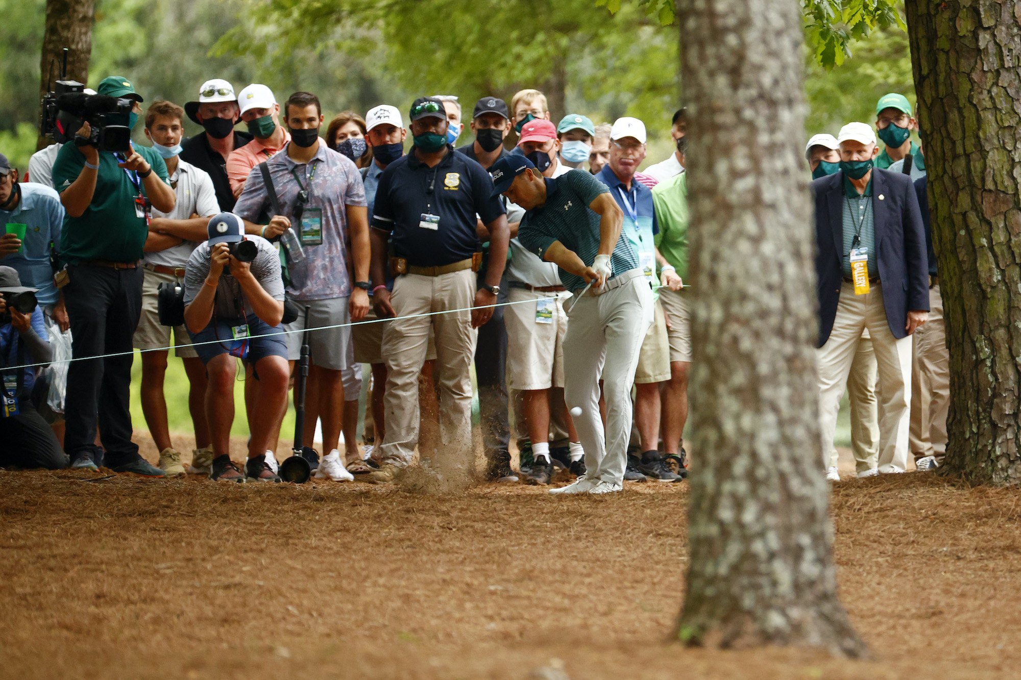 2021 Masters Tournament: Round 1 - Off the Pine Straw on No. 13