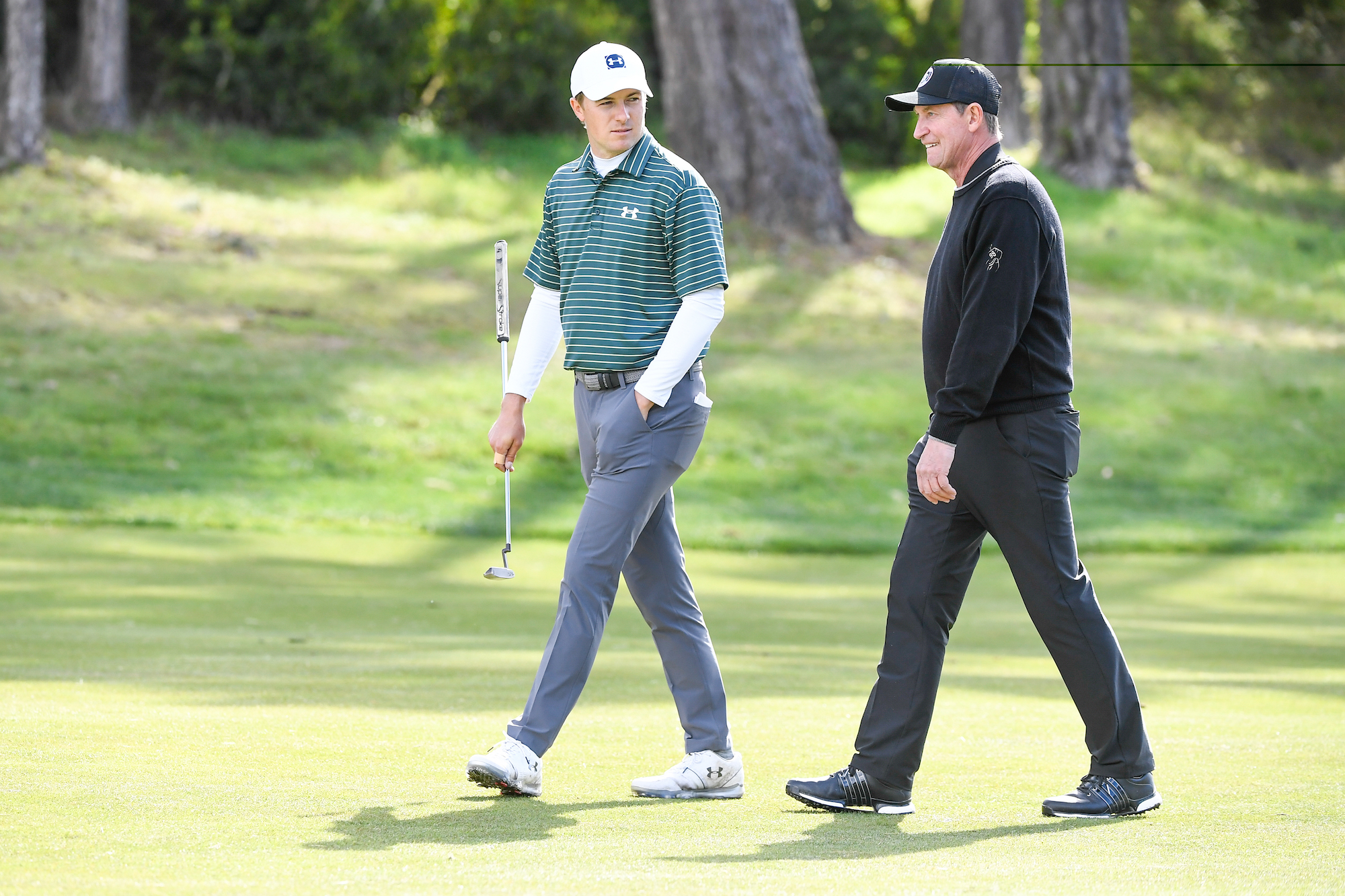 2019 AT&T Pebble Beach Pro-Am: Round 1 - Jordan Walks Up No. 18 With Wayne Gretzky