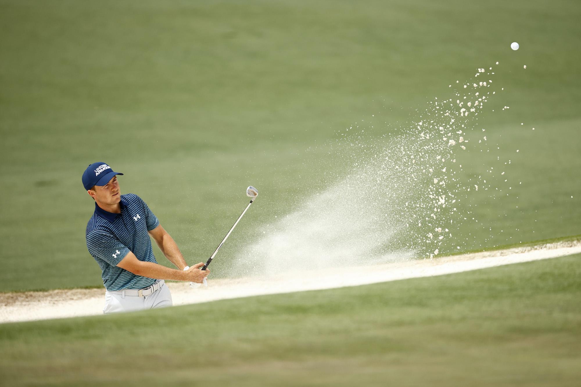 2021 Masters Tournament: Round 1 - Bunker Shot on No. 2