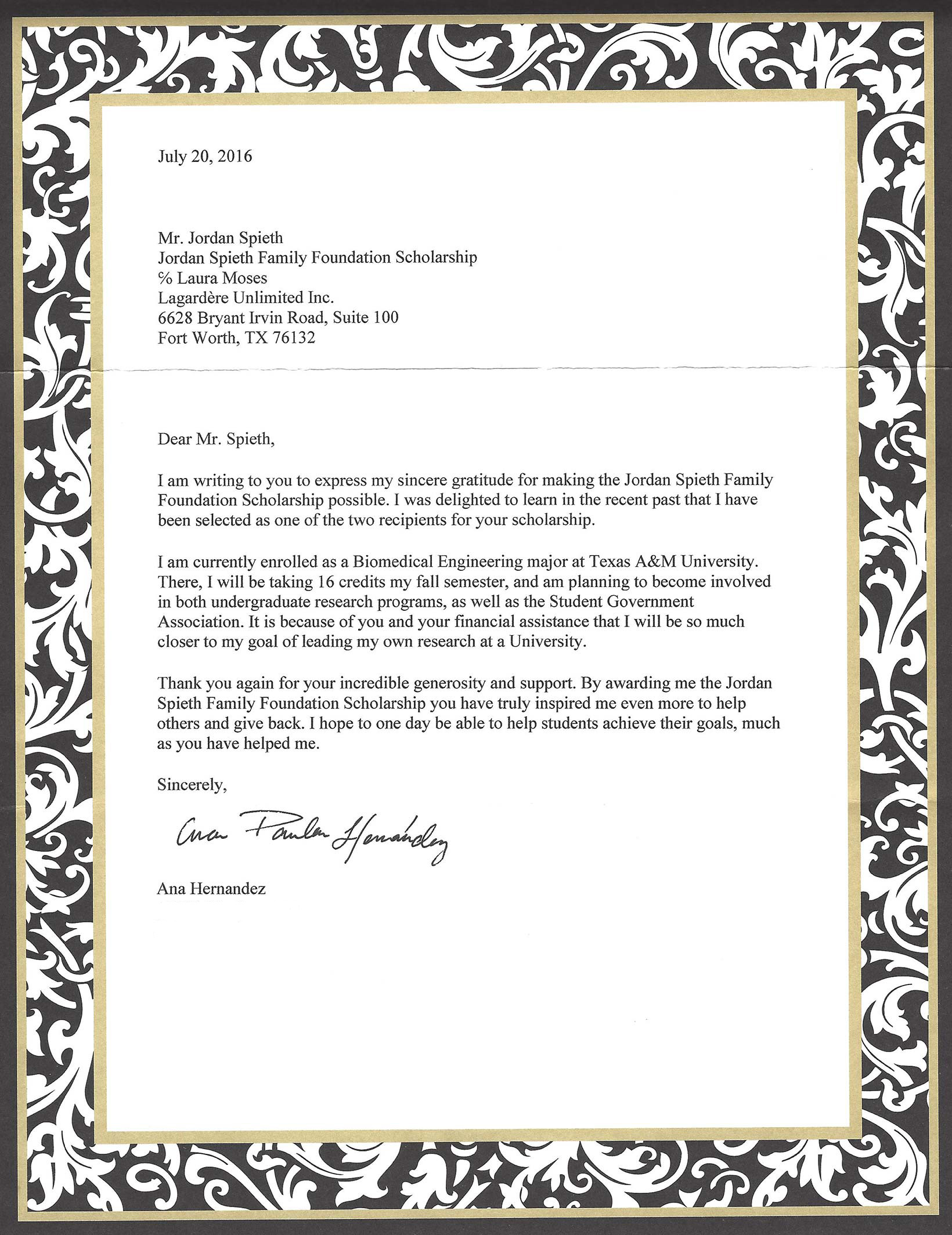 A Thank You Letter From A Jsff Scholarship Recipient