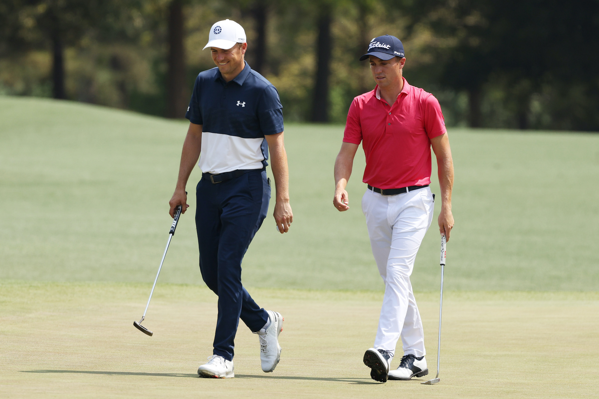 2021 Masters Tournament: Preview Day 3 - Jordan and Justin Thomas During Wednesday's Practice Round