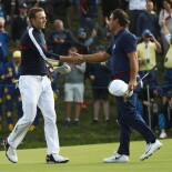 2018 Ryder Cup: Friday Afternoon Foursomes - Jordan Shakes Hands With Francesco Molinari