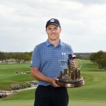 2021 Valero Texas Open: Final Round - Jordan With the Valero Texas Open Trophy