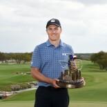 2021 Valero Texas Open: Final Round - Jordan With the Valero Texas Open Trophy