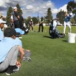 2018 Genesis Open: Pro-Am - Kids Watching Jordan at the Practice Range
