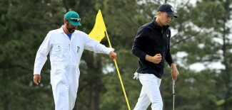 2018 Masters Tournament: Final Round - Jordan Reacts to His Par Putt on No. 17