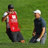 2017 Travelers Championship: Final Round - Jordan and Michael Celebrate the Chip-In