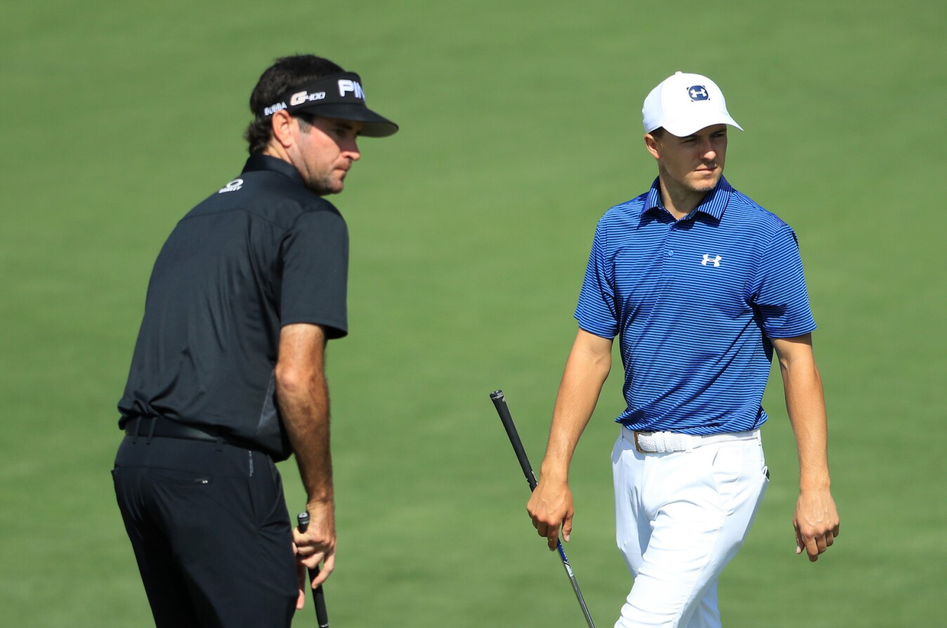 2018 Masters Tournament: Preview Day 2 - Jordan and Bubba Watson on the Second Green