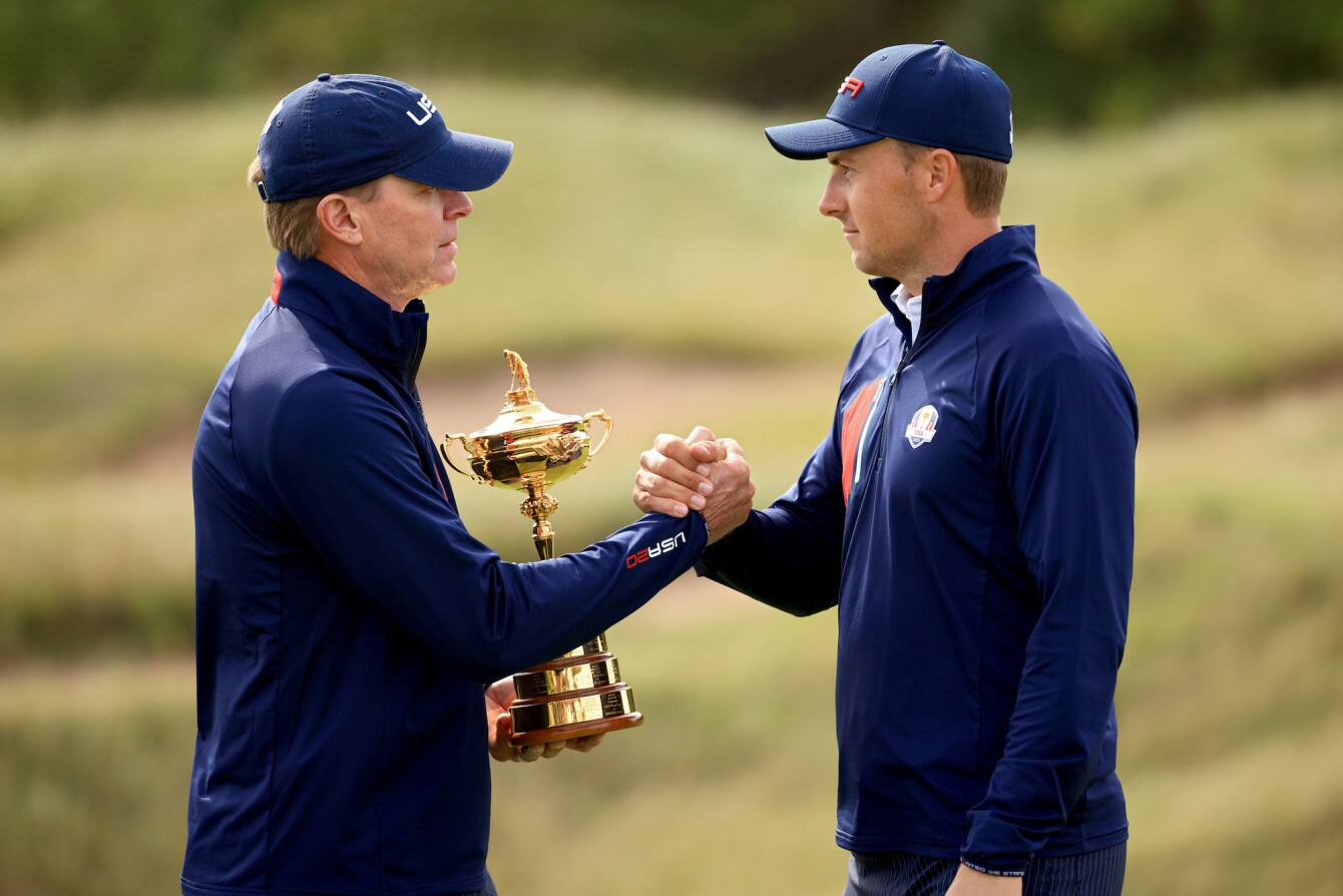2021 Ryder Cup: Preview Day 2 - Jordan With U.S. Coach Steve Stricker