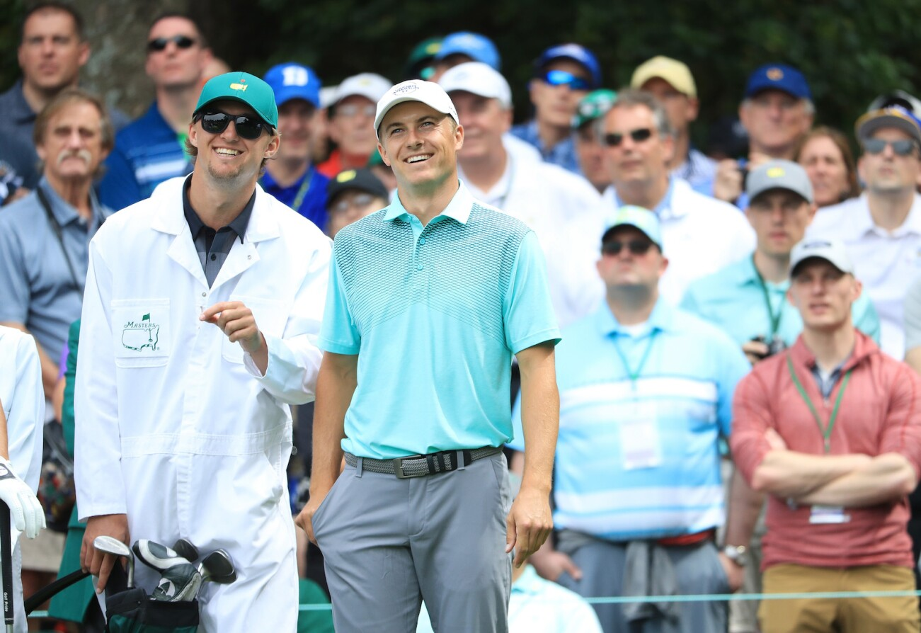 2018 Masters Tournament: Preview Day 3 - Jordan Is All Smiles With His Brother on the Bag