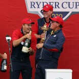 2021 Ryder Cup:  Jordan Celebrates With Steve Stricker and Phil Mickelson