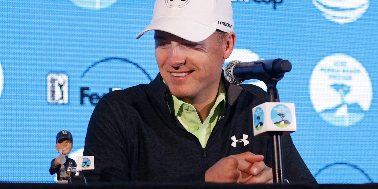 2018 AT&T Pebble Beach Pro-Am: Previews - Jordan and His Bobblehead at His Opening Press Conference