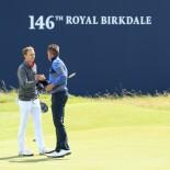 2017 Open Championship: Round 1 - Shakes Hands with Henrik Stenson