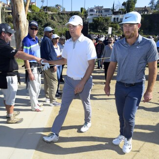 2018 Genesis Open: Round 1 - Jordan and Kevin Chappell Walk to the Ninth Hole