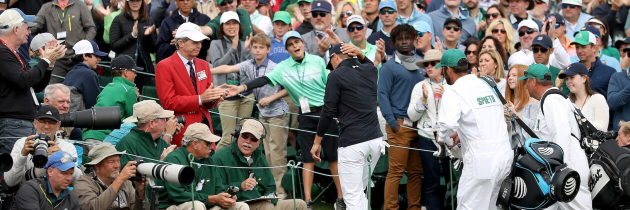 2018 Masters Tournament: Final Round - The Patrons Applaud Jordan as He Walks Off No. 18