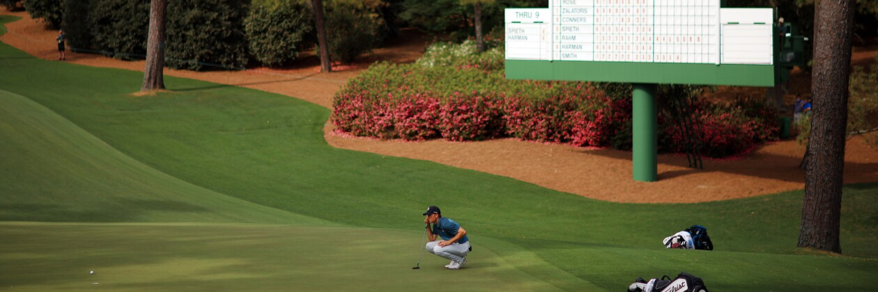 2021 Masters Tournament: Final Round - Reading a Putt on the 10th
