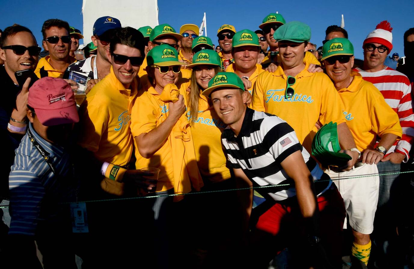2017 Presidents Cup: Final Round - Jordan Poses With the Fanatics