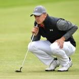 2017 Open Championship: Round 1 - Jordan Lines Up a Putt