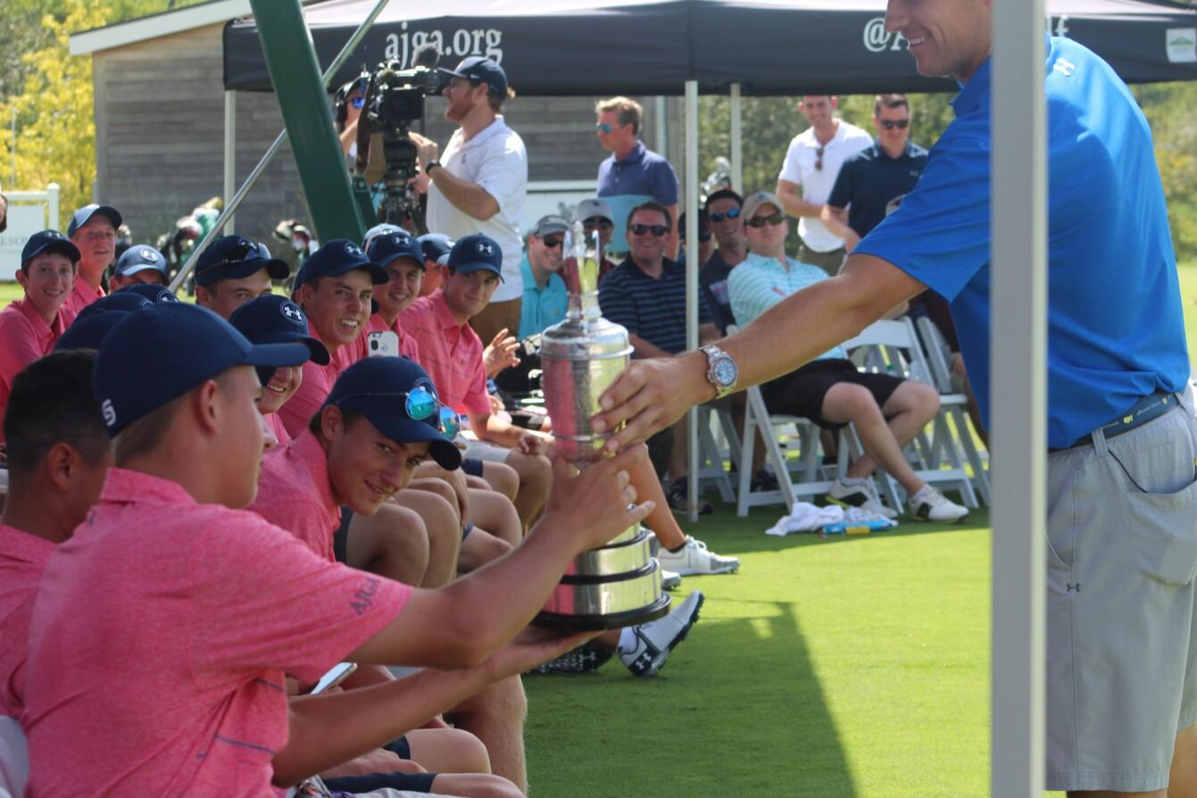 ACE Grant Announcement: Jordan passes around The Open trophy