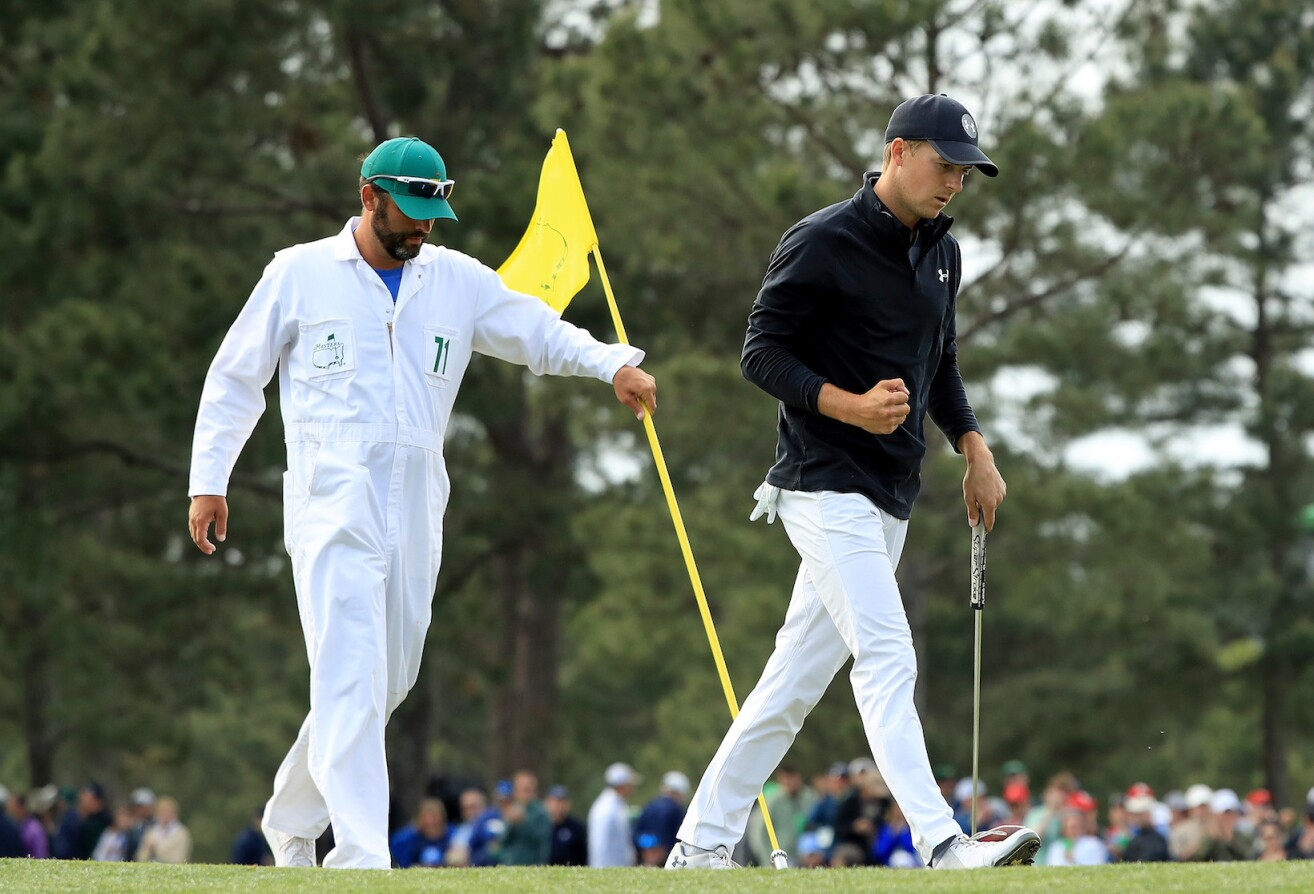 2018 Masters Tournament: Final Round - Jordan Reacts to His Par Putt on No. 17