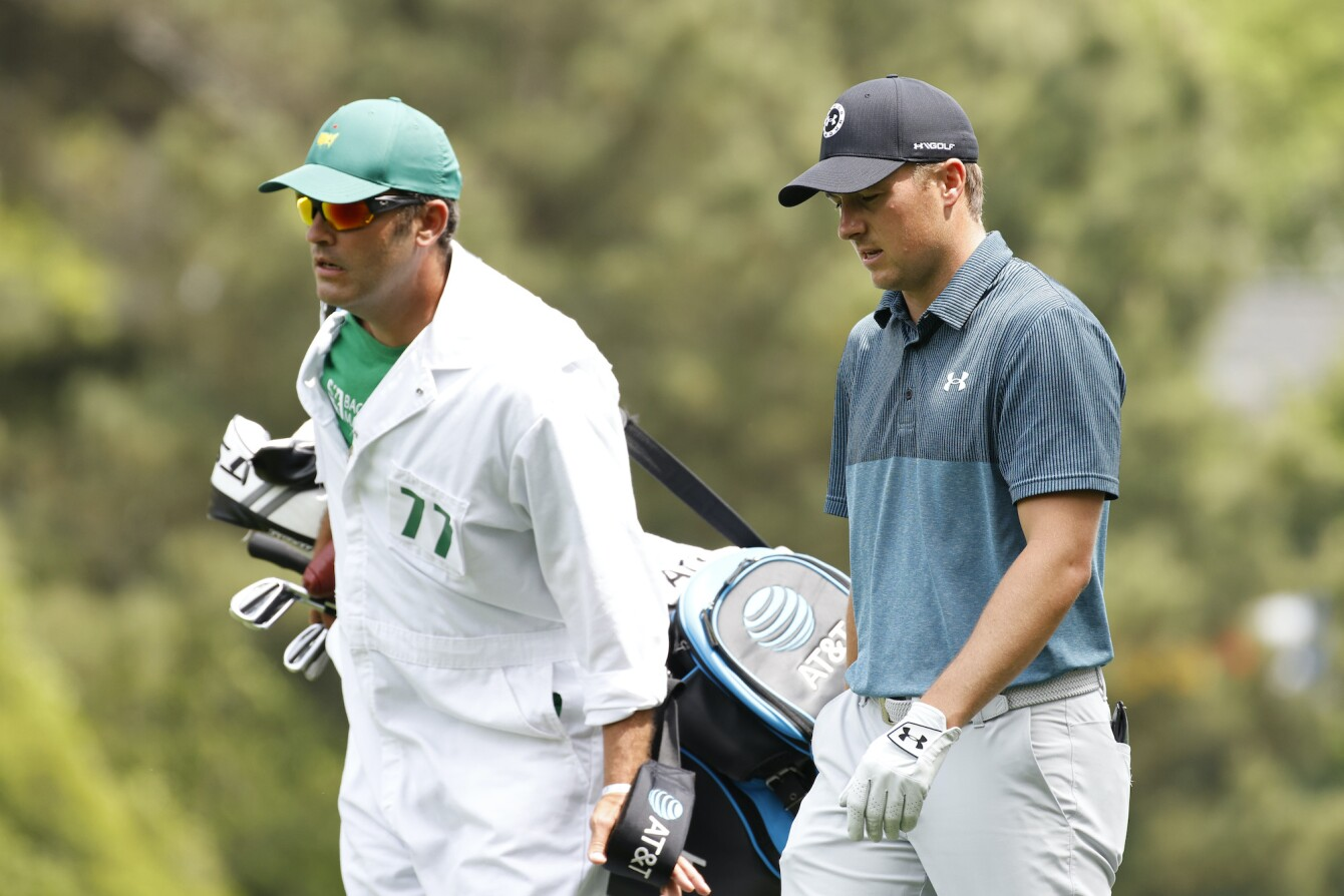 2021 Masters Tournament: Final Round - Jordan and Michael Walk Up the First Fairway