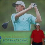 Jordan Spieth, receiving the Byron Nelson Jr. Golf award at the HP Byron Nelson golf tournament in May 2010, as a sixteen-year-old high school student.