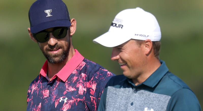 2021 BMW Championship: Pro-Am - Spieth and Phelps During the Pro-Am on Wednesday