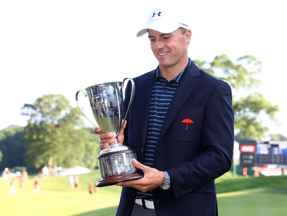2017 Travelers Championship: Final Round - Jordan Poses With the Winner's Trophy