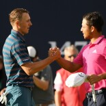 2018 Open Championship: Final Round - Jordan and Xander Schauffele on No. 18
