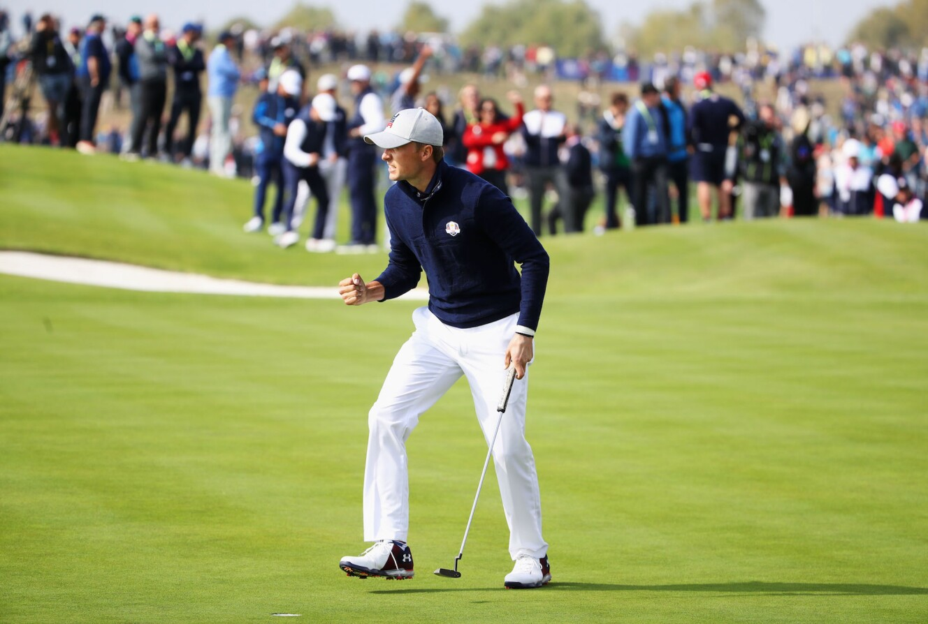 2018 Ryder Cup: Morning Fourball Matches - Celebrating a Birdie Putt