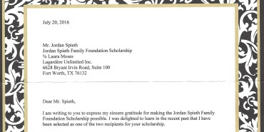 A Letter From a Scholarship Recipient