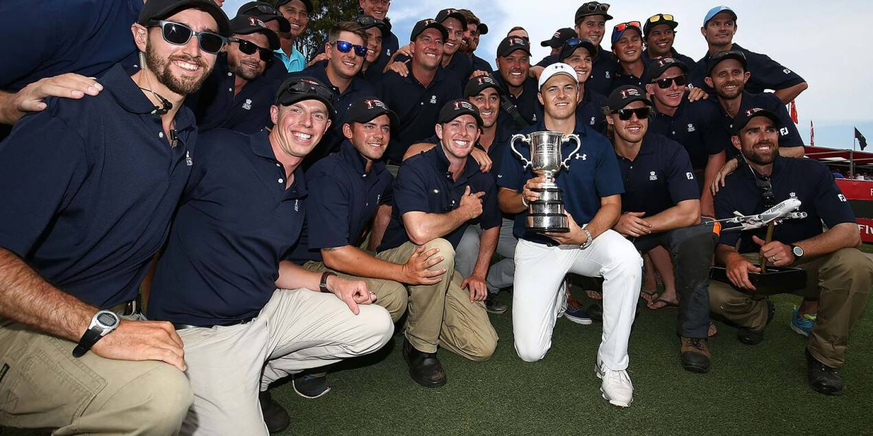 2016 Emirates Australian Open: Final Round - Jordan Poses With Greenkeeping Staff and the Stonehaven Trophy