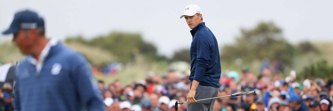 2017 Open Championship: Final Round - Jordan Looks Back at the Hole After Sinking 48-Foot Eagle Putt