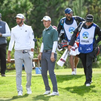 2019 AT&T Pebble Beach Pro-Am: Round 1 - Dustin and Jordan Walk Off the 18th Tee Box