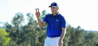 2017 Masters Tournament: Round 3 - Jordan Waves to the Crowd After His Par on No. 18
