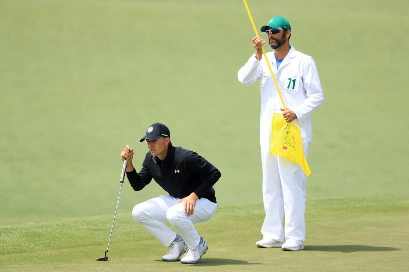 2018 Masters Tournament: Final Round - Jordan Lines Up His Birdie Putt on No. 2