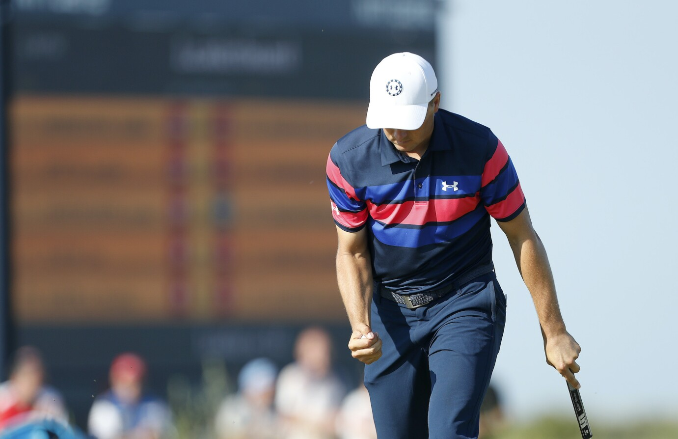 SANDWICH, ENGLAND - JULY 18: Jordan Spieth of the United States reacts on the green of the 14th hole during Day Four of The 149th Open at Royal St George's Golf Club on July 18, 2021 in Sandwich, England. (Photo by Oisin Keniry/Getty Images)
