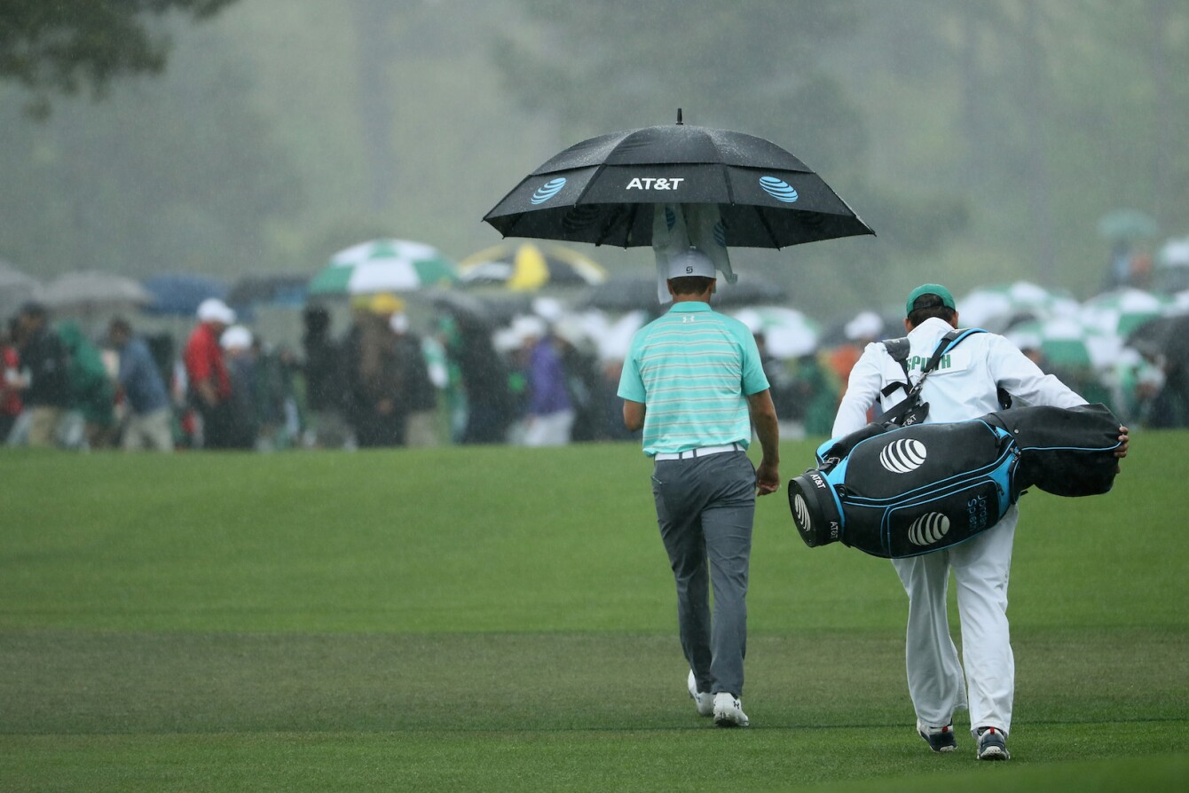 2018 Masters Tournament: Round 3 - Rain on the Back Nine