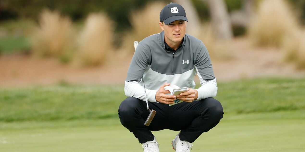 2021 AT&T Pebble Beach Pro-Am: Round 1 - Jordan Lines Up a Putt in the Opening Round