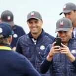 2021 Ryder Cup: Previews - Jordan and Justin Thomas With Members of the Ryder Cup Team on Tuesday