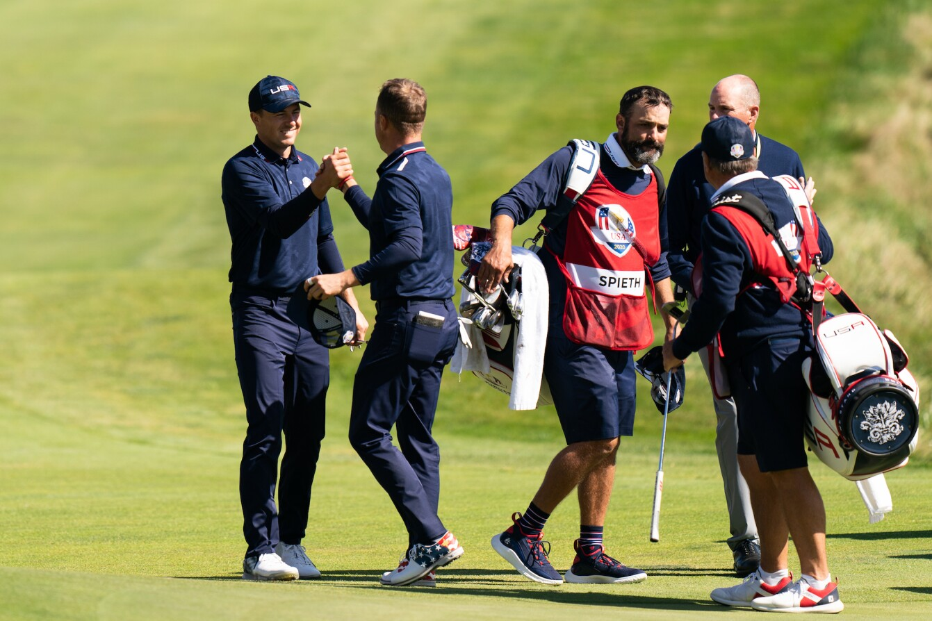 2021 Ryder Cup: Day 2 - Jordan and Justin Celebrate Their Morning Foursomes Win