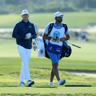2018 AT&T Pebble Beach Pro-Am: Round 2 - Jordan and Michael Walk Up the 12th Fairway