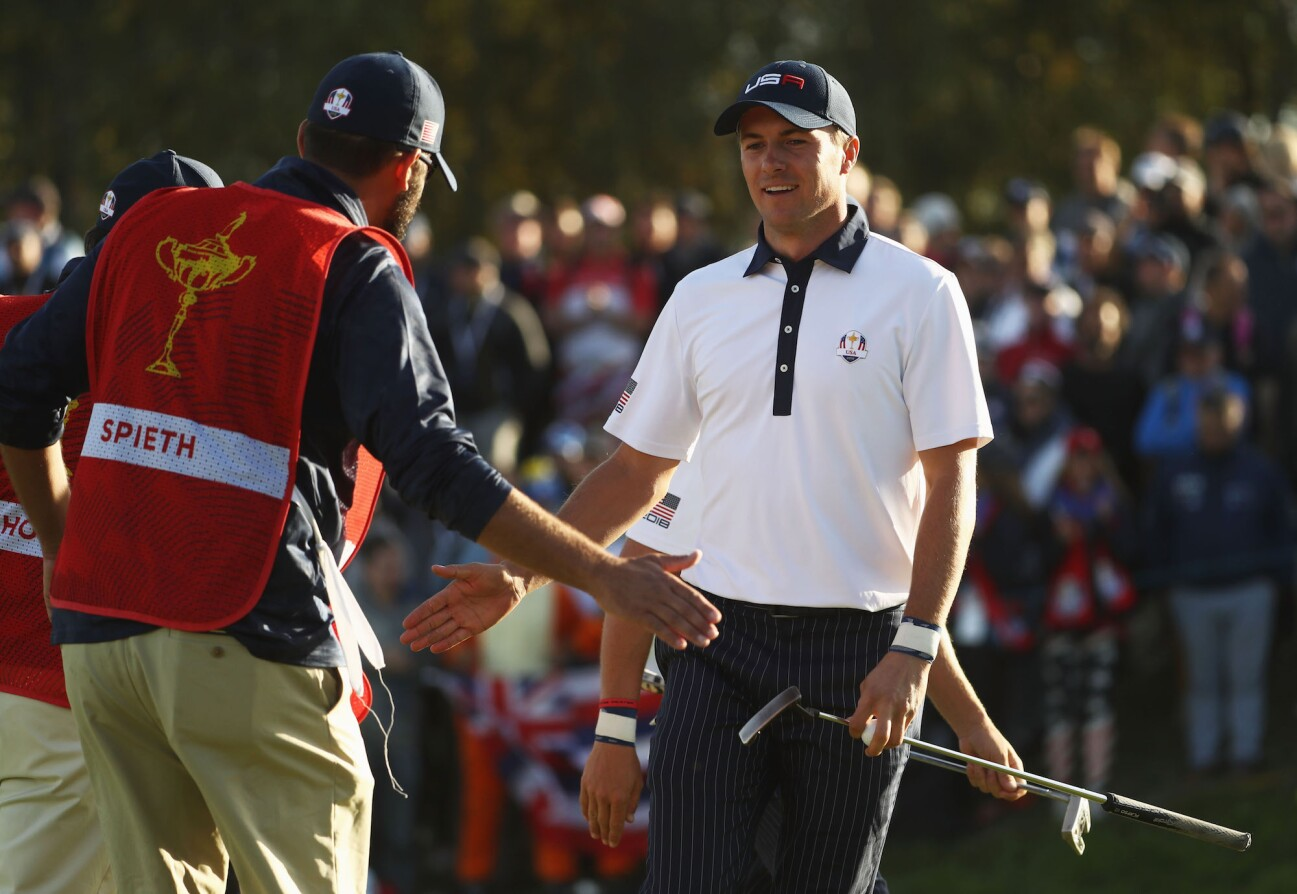 2018 Ryder Cup: Saturday Afternoon Foursomes - Jordan and Michael Celebrate