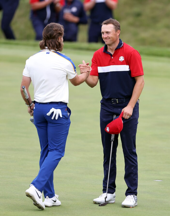 2021 Ryder Cup: Day 3 - Tommy Fleetwood and Jordan on 18