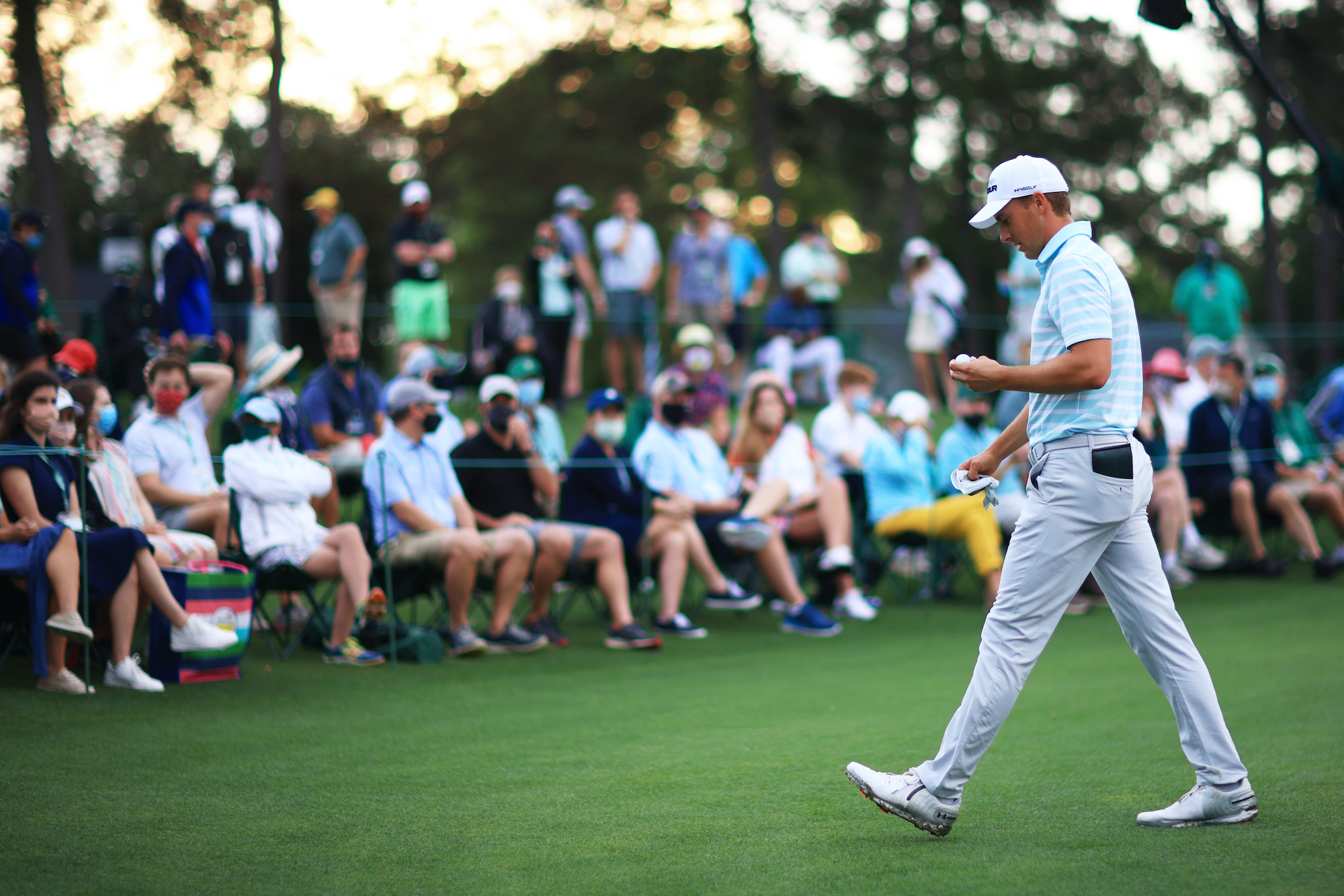 2021 Masters Tournament: Round 3 - Jordan Walks Off the 18th Green